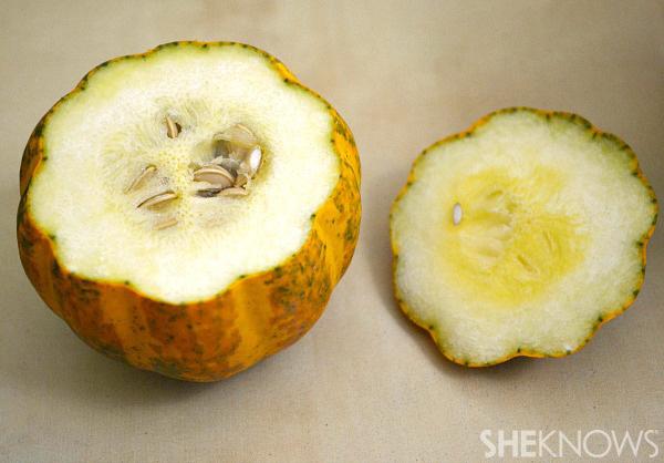 Cut open cut gourd