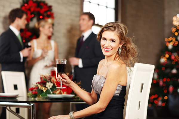 woman hosting holiday party
