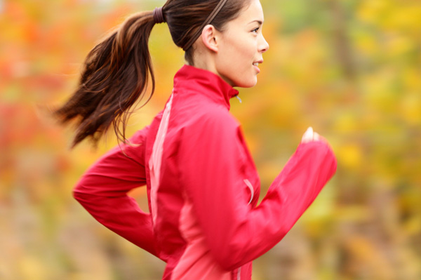 Woman running in fall