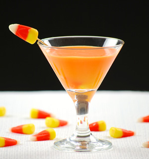 Sparkling candy corn-infused vodka cocktail