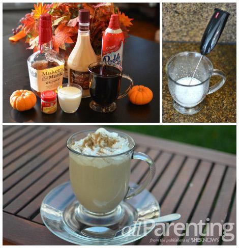 Boozy pumpkin café latte collage