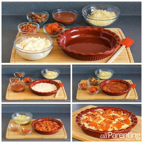 Meat Lovers 4 Layer Pizza Dip prep collage