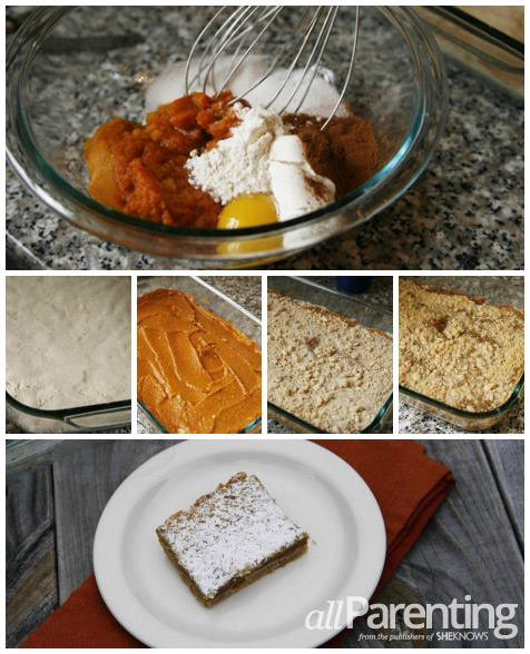 pumpkin crumb bar collage