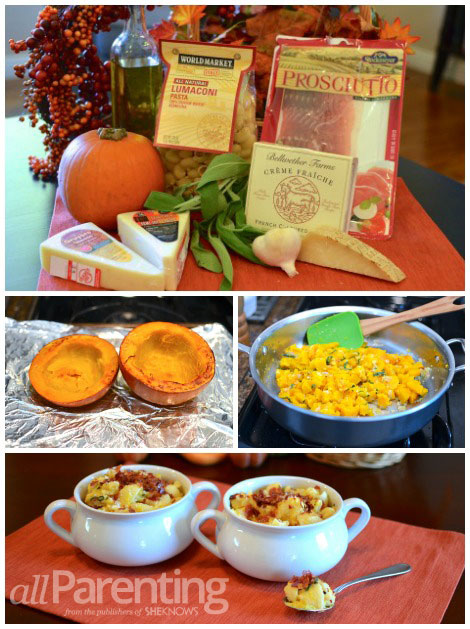 Roasted pumpkin and crispy prosciutto macaroni and cheese collage