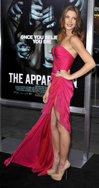 Ashley Greene red carpet moment in Fuschia Donna Karen
