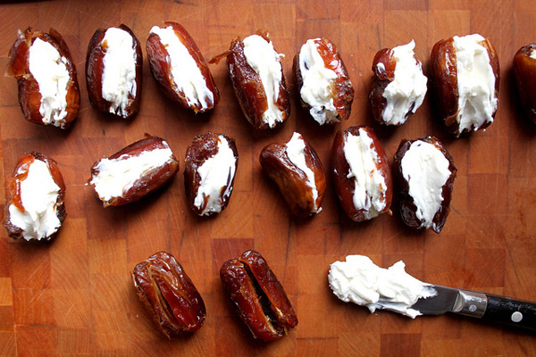 Bacon-wrapped, cheese-stuffed dates