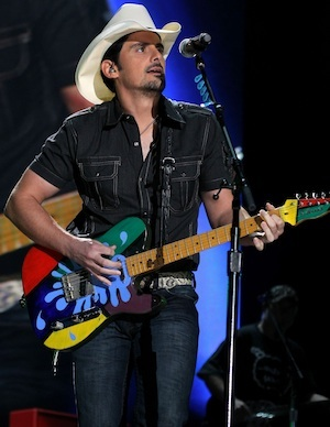 Brad Paisley and his guitar at the CMAs