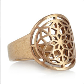 intricate pink-tone bronze ring