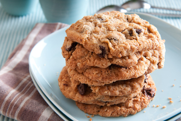 Almond Butter Chocolate Chip Oatmeal Cookies