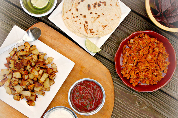 Chorizo and potato soft tacos with homemade salsa