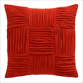 shirred burnt orange pillows