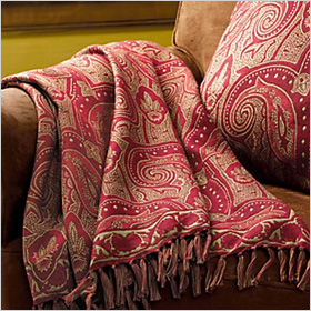 pretty pink paisley throw