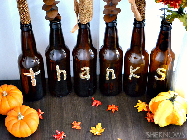 Drink up a diy thanksgiving centerpiece from beer bottles for Beer bottle decoration ideas