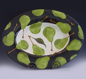 Hand painted pear dish