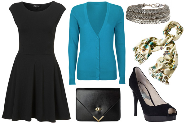 The little black dress, cardigan, scarf, clutch, and black peep toe heels