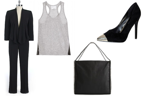 The pantsuit, a clutch, and black heels with a silver tip