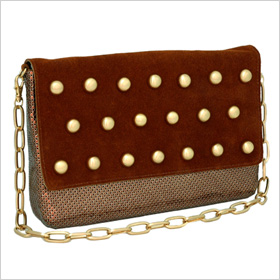 Whiting & Davis Studded Suede Bag,$225,whitinganddavisbags.com