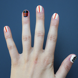 Finished San Francisco Giants nail design