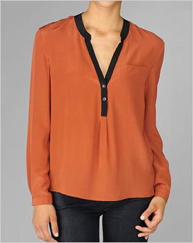black tipped silk blouse in burnt orange