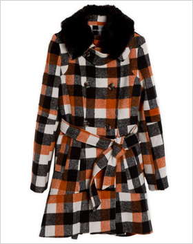 orange and black plaid coat