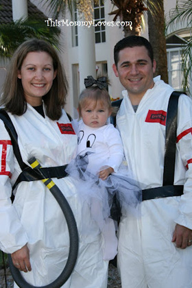 Ghostbusters and a ghost family Halloween costume