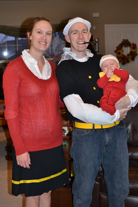 Popeye, Olive Oyl and Sweet Pea Halloween costume