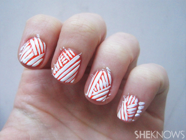Mummy-wrapped nails -- step 3