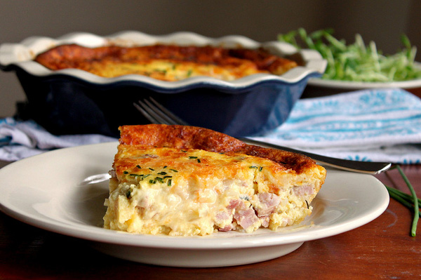 Ham, cheese and onion quiche