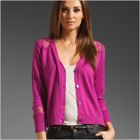 Juicy Couture V Neck Cardigan in a vibrant purple-pink