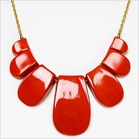 Trina Turk Bold Resin Petal Necklace in Cinnebar