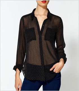 sheer black and white polka dot blouse