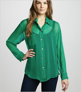 emerald green sheer blouse