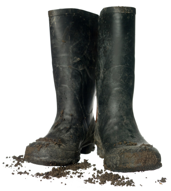 Muddy boots