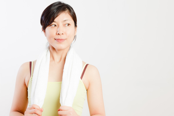 Large build woman exercising