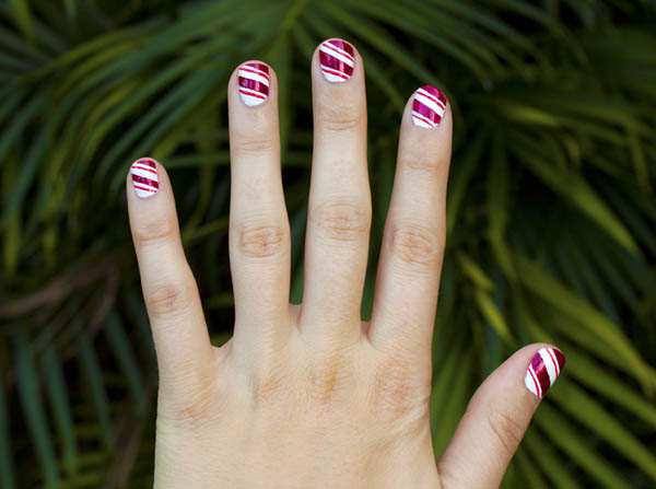 Finish the candy cane nail art