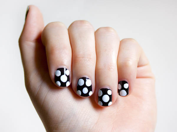 The finished polka dot nail