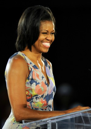 Michelle stumps for her man