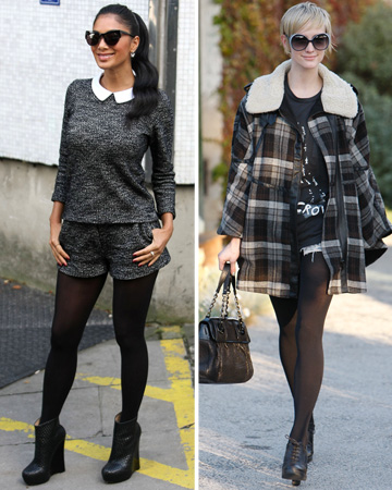 nicole scherzinger and ashlee simpson wearing shorts and tights