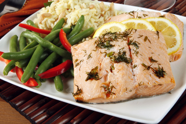 Poached salmon dinner