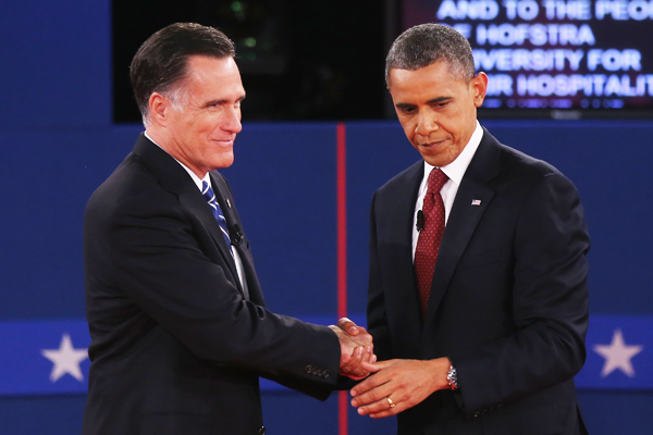 Mitt Romney and Barack Obama shake it out at the end of the second presidential debate