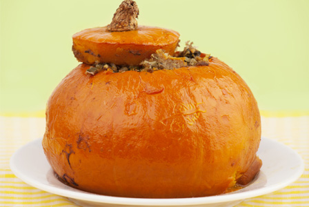 Pumpkin stuffed with meat