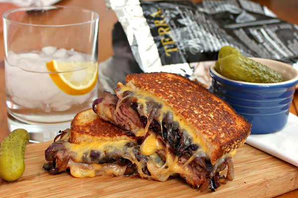 Roast beef and caramelized onion grilled cheese