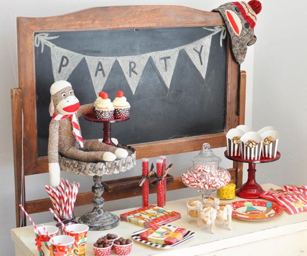 Sock monkey themed party | Sock monkey themed party
