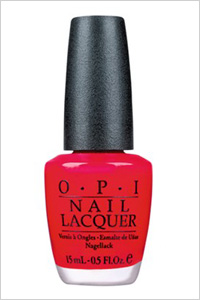 OPI red nail polish in The Thrill of Brazil