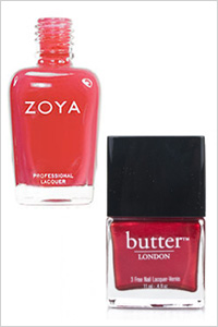 Zoya, and London red nail polishes in Kara, and Knees Up