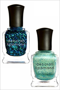 Deborah Lippmann blue glitter nail polishes in Across the Universe, and Mermaid's Dream