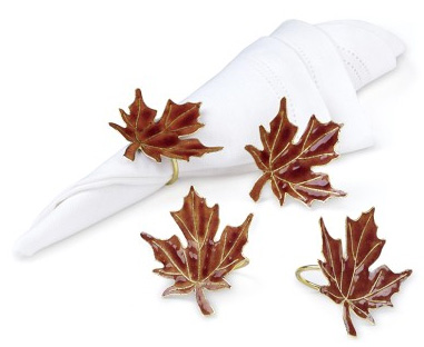 Cloissone Maple Leaf Napkin Rings