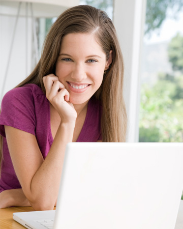 Woman blogging from home