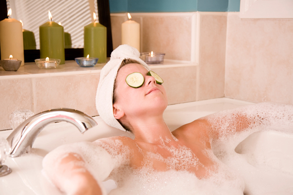 Woman in bubble bath