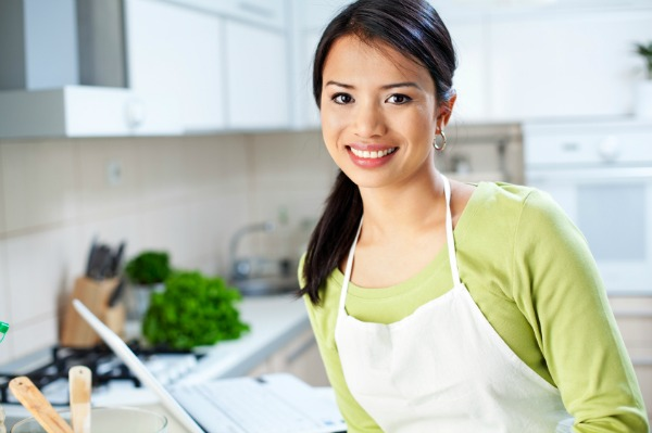 woman in clean kitchen